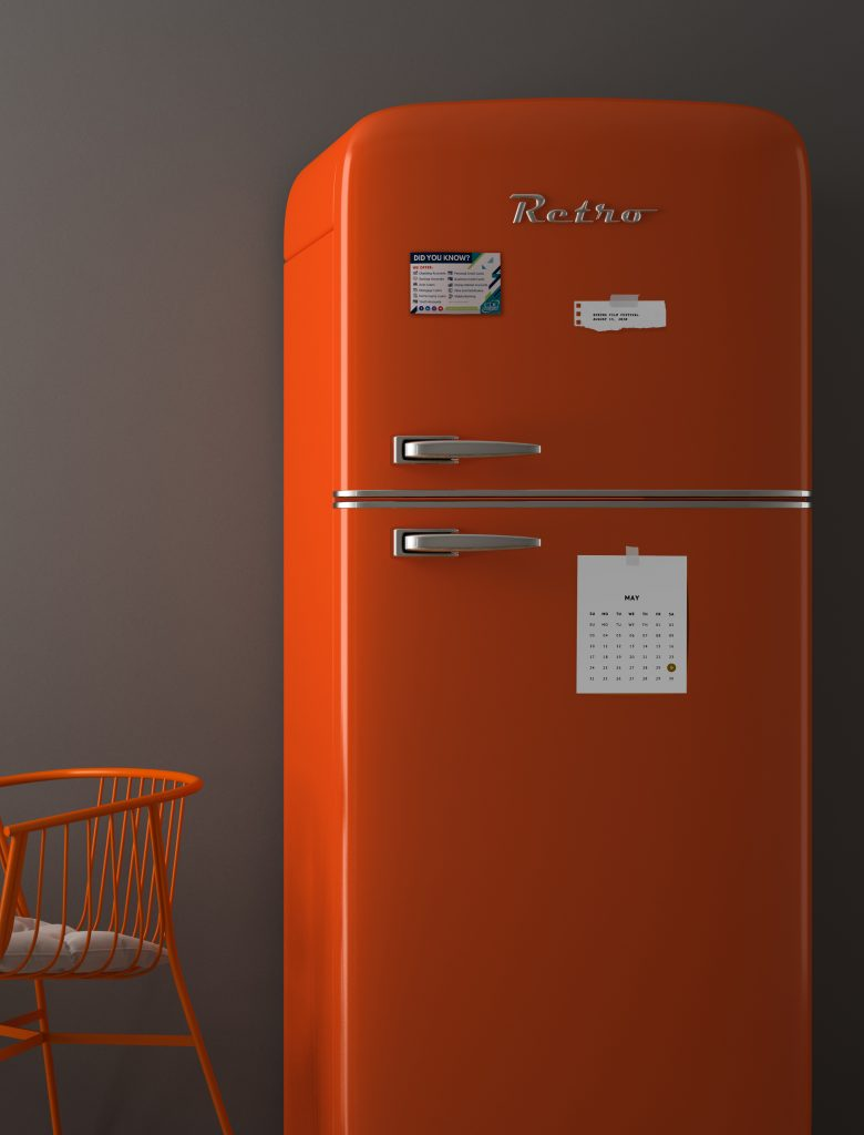 Interior with orange fridge 3D illustration